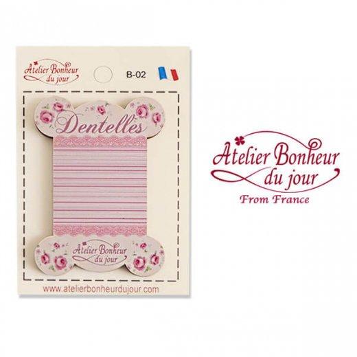 【糸巻き】フランス輸入ボタン アトリエ・ボヌール・ドゥ・ジュール【ピンク 糸巻き バラ Dentelles】
