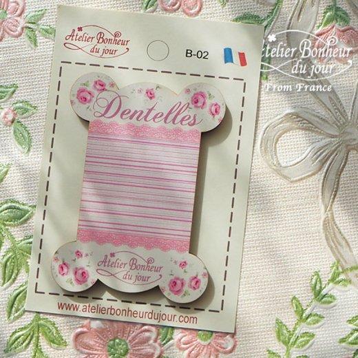 【糸巻き】フランス輸入ボタン アトリエ・ボヌール・ドゥ・ジュール【ピンク 糸巻き バラ Dentelles】【画像5】