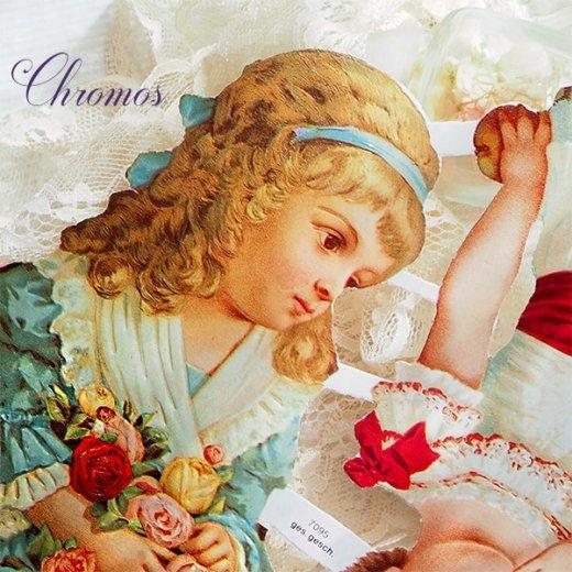 ドイツ クロモス【M】<ヴィクトリアン 幼子3人 バラ レース>【画像3】