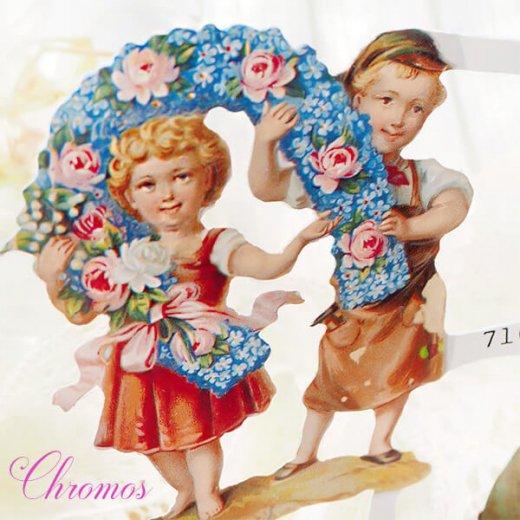 ドイツ クロモス【M】<幼子 バラ 花かご 幸せを呼ぶ 馬の蹄 蹄鉄> 【画像5】