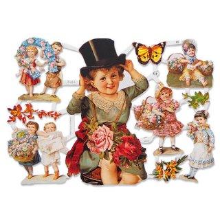 ドイツ クロモス【M】<幼子 バラ 花かご 幸せを呼ぶ 馬の蹄 蹄鉄>