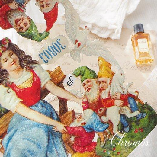 ドイツ クロモス【M】<白雪姫 七人のこびと うさぎ 小鳥 幸せの白い鳩 童話>【画像2】