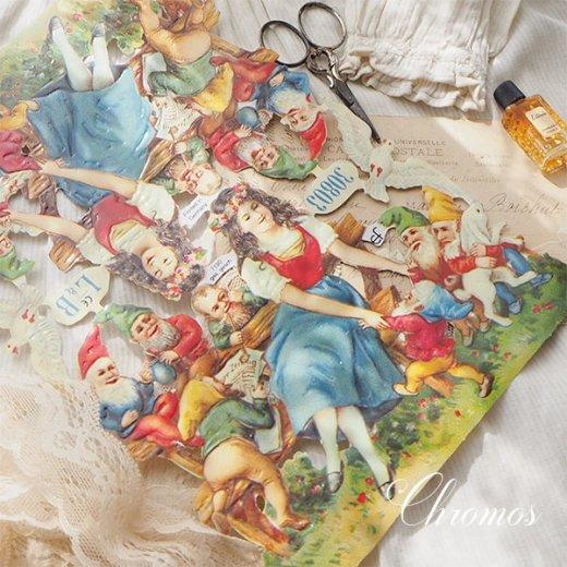 ドイツ クロモス【M】<白雪姫 七人のこびと うさぎ 小鳥 幸せの白い鳩 童話>【画像3】