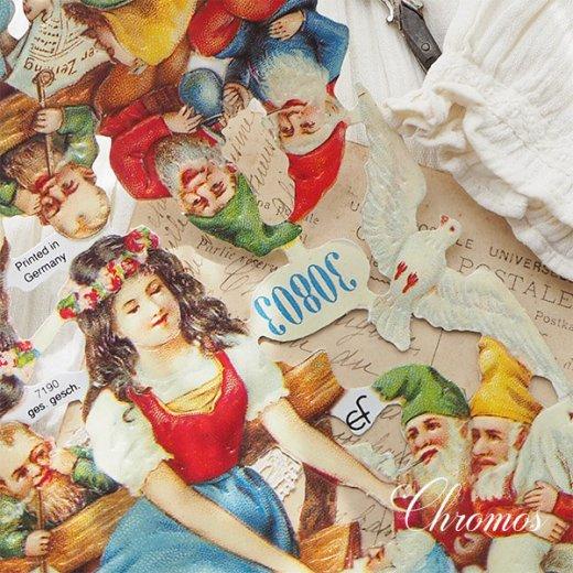 ドイツ クロモス【M】<白雪姫 七人のこびと うさぎ 小鳥 幸せの白い鳩 童話>【画像4】
