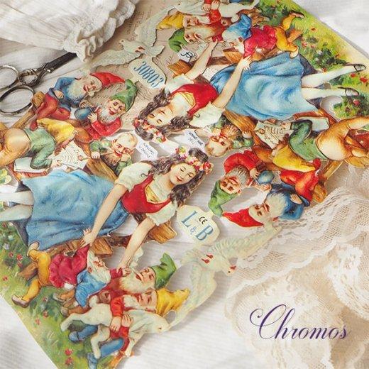ドイツ クロモス【M】<白雪姫 七人のこびと うさぎ 小鳥 幸せの白い鳩 童話>【画像5】
