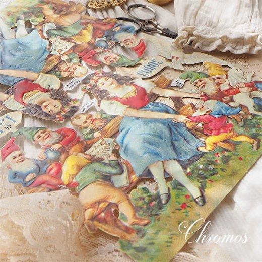 ドイツ クロモス【M】<白雪姫 七人のこびと うさぎ 小鳥 幸せの白い鳩 童話>【画像6】