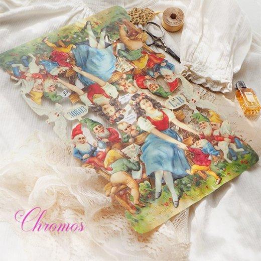 ドイツ クロモス【M】<白雪姫 七人のこびと うさぎ 小鳥 幸せの白い鳩 童話>【画像8】