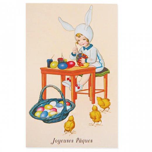 フランス イースター 復活祭 ポストカード (女の子 ひよこ カラフルエッグ)