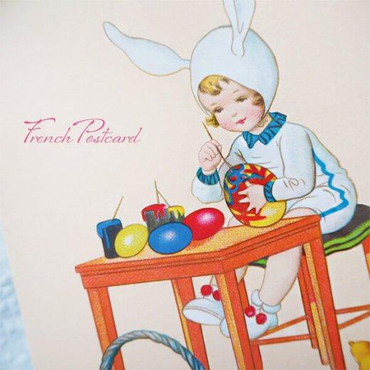 フランス イースター 復活祭 ポストカード (女の子 ひよこ カラフルエッグ)【画像2】