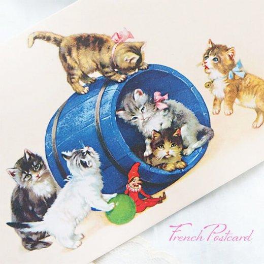 フランス ポストカード  猫 キャット (樽 ネコ Chacun son tour )【画像2】
