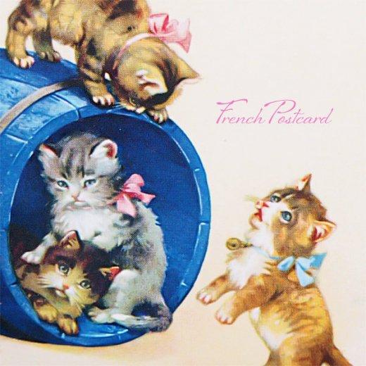 フランス ポストカード  猫 キャット (樽 ネコ Chacun son tour )【画像3】