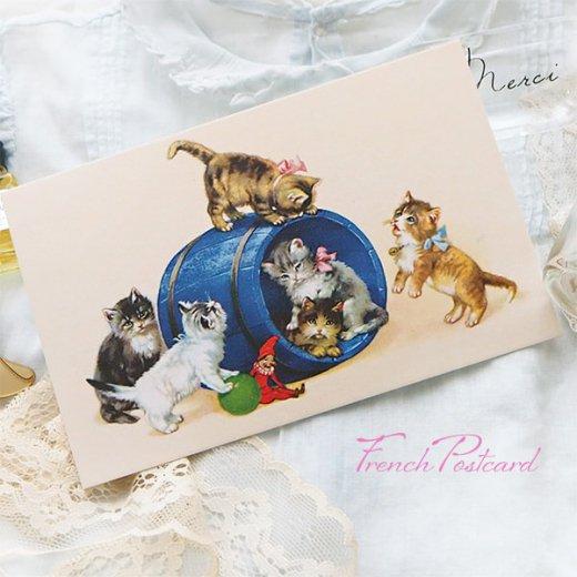 フランス ポストカード  猫 キャット (樽 ネコ Chacun son tour )【画像4】