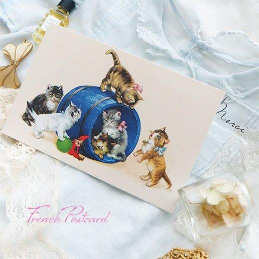 フランス ポストカード  猫 キャット (樽 ネコ Chacun son tour )【画像6】