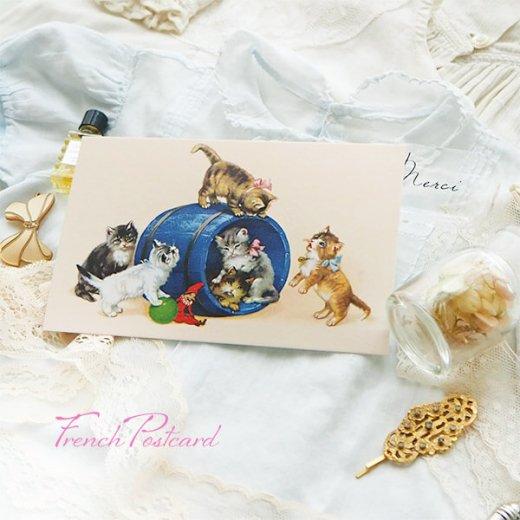 フランス ポストカード  猫 キャット (樽 ネコ Chacun son tour )【画像7】
