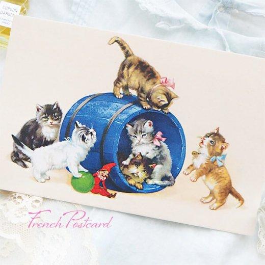 フランス ポストカード  猫 キャット (樽 ネコ Chacun son tour )【画像8】