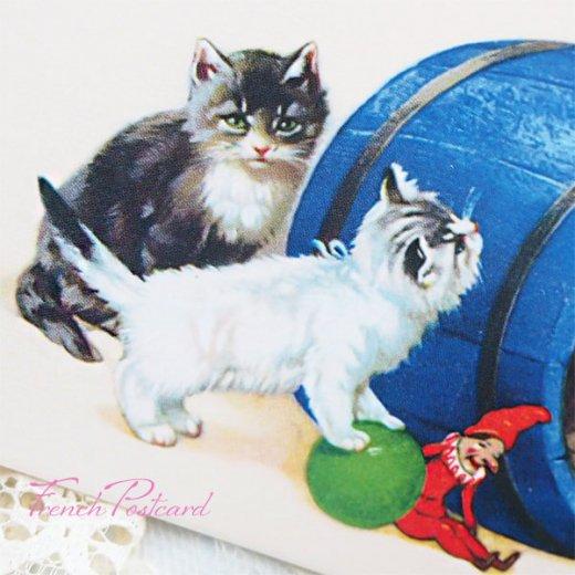 フランス ポストカード  猫 キャット (樽 ネコ Chacun son tour )【画像9】