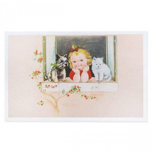 フランス ポストカード  猫 キャット 犬 (窓辺 幼子 ネコ Un coin ensoleillé )