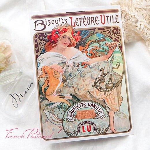 フレンチポストカード アルフォンス・ミュシャ(1896年  LU ビスケット 広告画Lefèvre-Utile )【画像2】