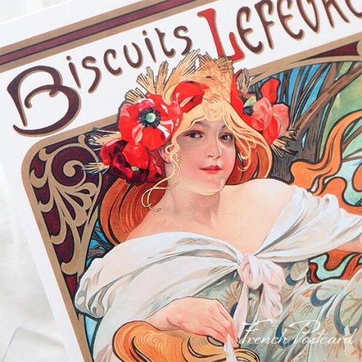 フレンチポストカード アルフォンス・ミュシャ(1896年  LU ビスケット 広告画Lefèvre-Utile )【画像3】