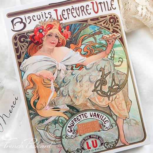 フレンチポストカード アルフォンス・ミュシャ(1896年  LU ビスケット 広告画Lefèvre-Utile )【画像4】