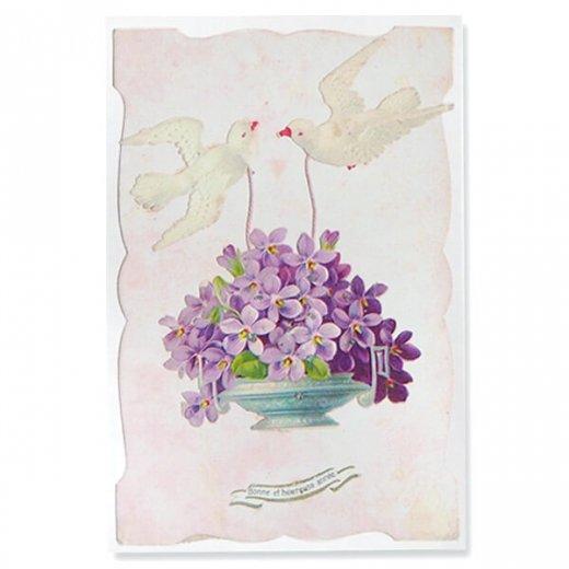 フランス ポストカード スミレ(幸運を呼ぶ  平和の象徴 白い鳩 )