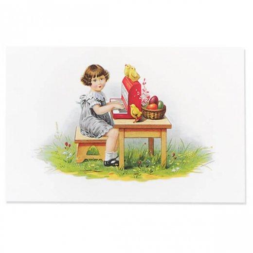 フランス イースター 復活祭 ポストカード (女の子 オルガン ひよこ カラフルエッグ)