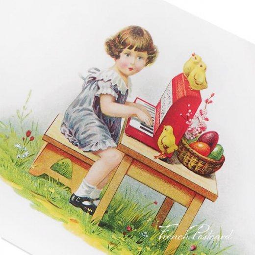 フランス イースター 復活祭 ポストカード (女の子 オルガン ひよこ カラフルエッグ)【画像2】