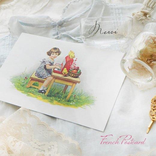 フランス イースター 復活祭 ポストカード (女の子 オルガン ひよこ カラフルエッグ)【画像3】