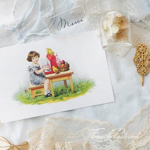 フランス イースター 復活祭 ポストカード (女の子 オルガン ひよこ カラフルエッグ)【画像4】