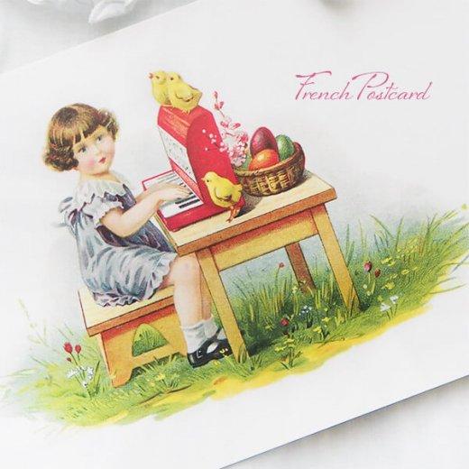 フランス イースター 復活祭 ポストカード (女の子 オルガン ひよこ カラフルエッグ)【画像5】