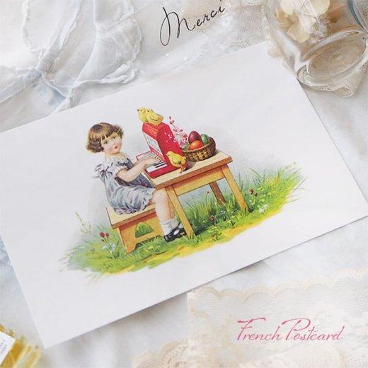 フランス イースター 復活祭 ポストカード (女の子 オルガン ひよこ カラフルエッグ)【画像7】