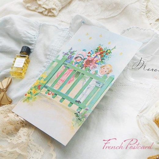 フランス ポストカード ローズ バラ(訪問 花束 春の訪れ Bienvenue G)【画像6】