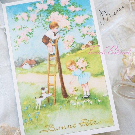 フランス ポストカード 花摘み(記念日お祝い 卒業 入園 春 初夏 Bonne fete E)【画像4】