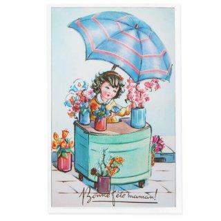 フランス ポストカード お花売り(記念日お祝い 母の日 Bonne fete F)