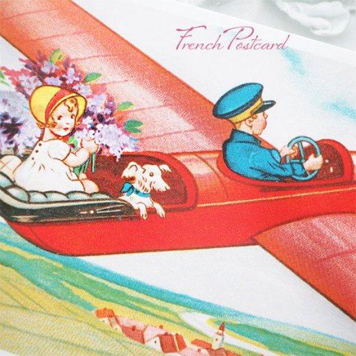 フランス ポストカード お花 ライラック(幼子 女の子 犬 プロペラ飛行機 飛行 )【画像2】