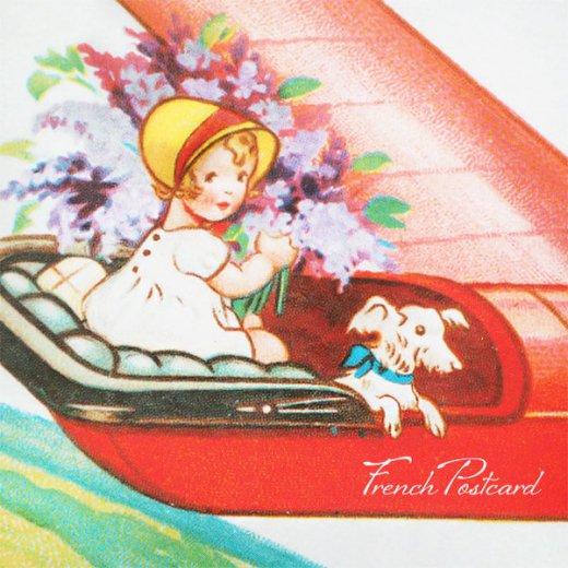 フランス ポストカード お花 ライラック(幼子 女の子 犬 プロペラ飛行機 飛行 )【画像3】