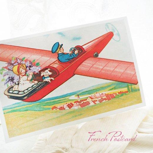 フランス ポストカード お花 ライラック(幼子 女の子 犬 プロペラ飛行機 飛行 )【画像4】