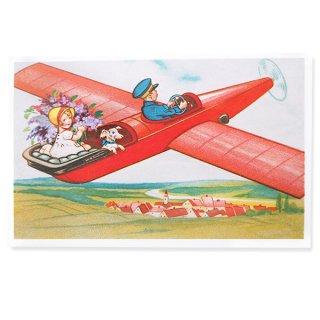 フランス ポストカード お花 ライラック(幼子 女の子 犬 プロペラ飛行機 飛行 )