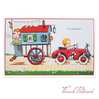 フランス ポストカード (車 お家 自由万歳 Vive la liberté )