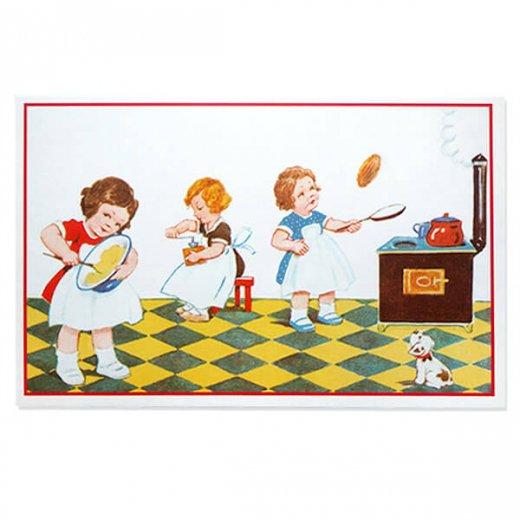 フランス ポストカード (キッチン 料理 女の子 犬)
