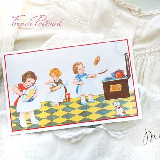 フランス ポストカード (キッチン 料理 女の子 犬)【画像2】