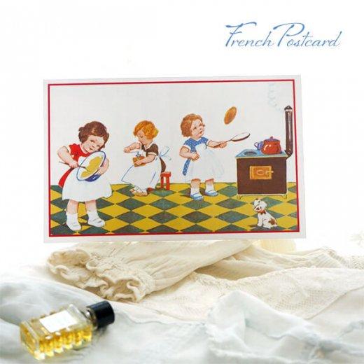 フランス ポストカード (キッチン 料理 女の子 犬)【画像3】