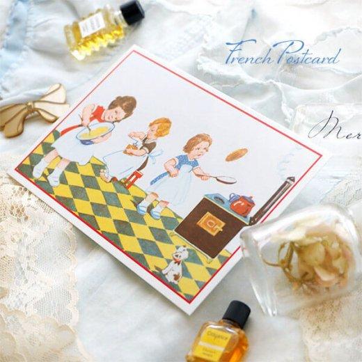 フランス ポストカード (キッチン 料理 女の子 犬)【画像4】