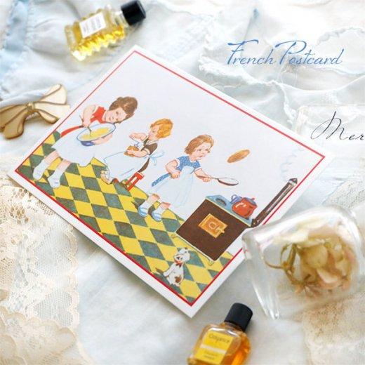 フランス ポストカード (キッチン 料理 女の子 犬)【画像5】