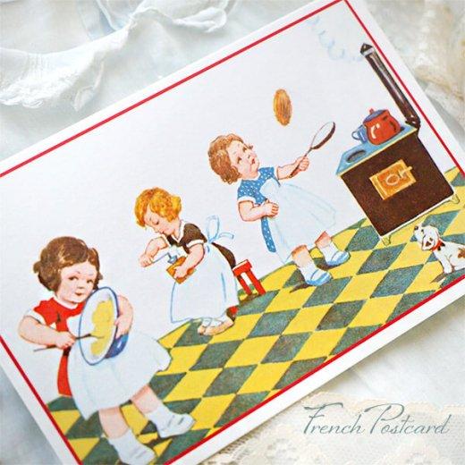 フランス ポストカード (キッチン 料理 女の子 犬)【画像6】
