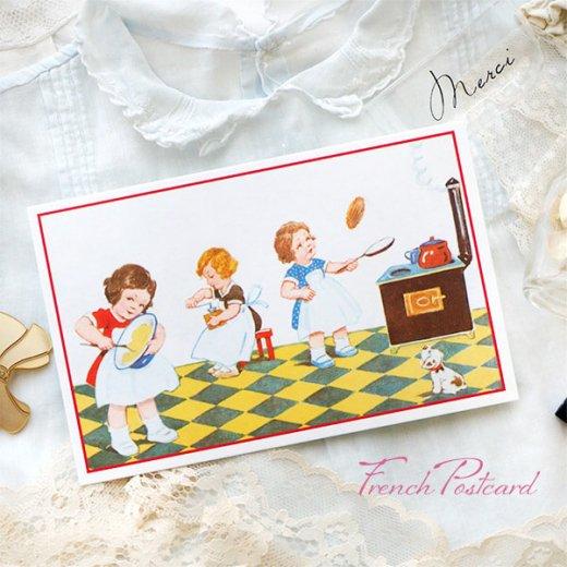 フランス ポストカード (キッチン 料理 女の子 犬)【画像7】