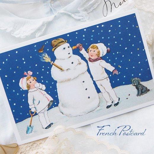 フランス クリスマスポストカード  ( 完成 雪だるま! 幼子 犬)【画像2】
