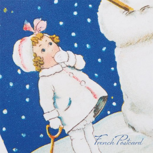 フランス クリスマスポストカード  ( 完成 雪だるま! 幼子 犬)【画像3】