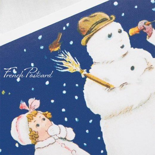 フランス クリスマスポストカード  ( 完成 雪だるま! 幼子 犬)【画像4】