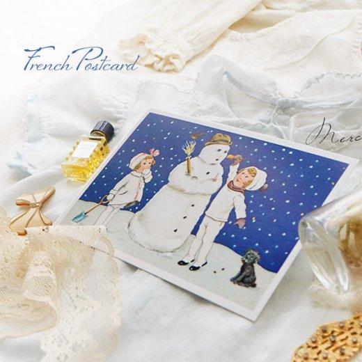 フランス クリスマスポストカード  ( 完成 雪だるま! 幼子 犬)【画像5】